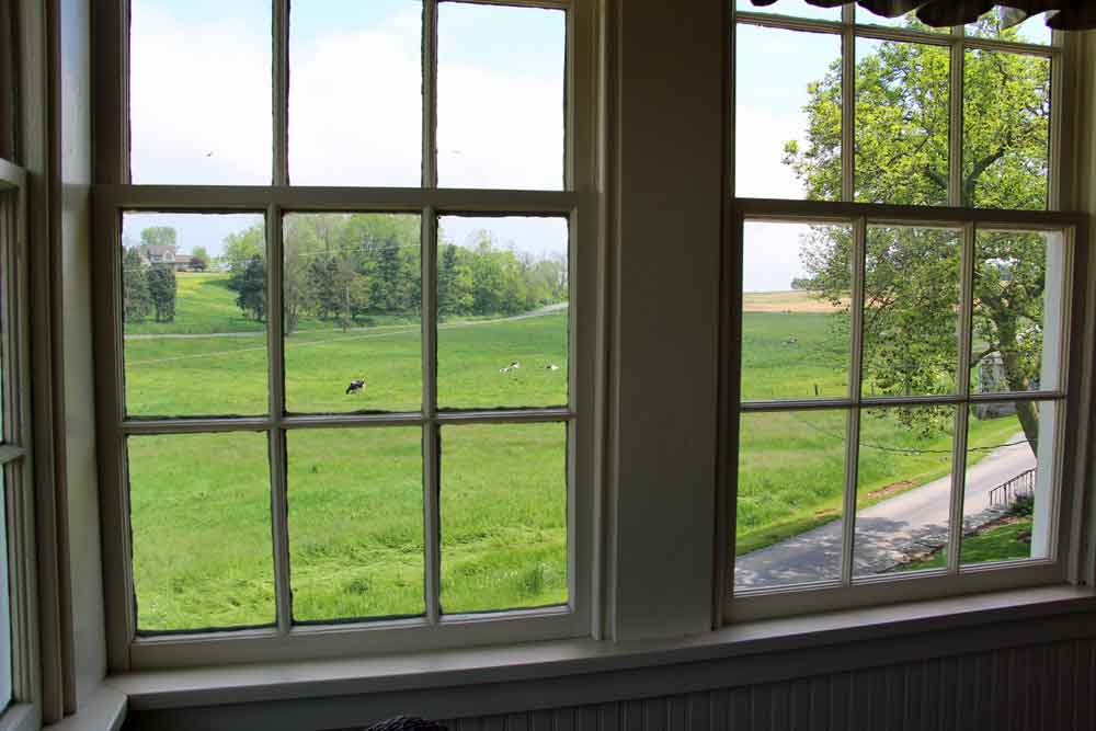 view from Lancaster County farm vacation rental